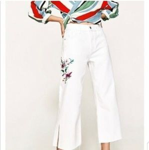 Zara NWT White Embroidered Wide Leg Cropped Jeans